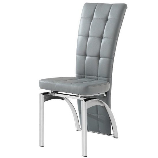 ravenna dining chair in grey faux leather with chrome base. Black Bedroom Furniture Sets. Home Design Ideas