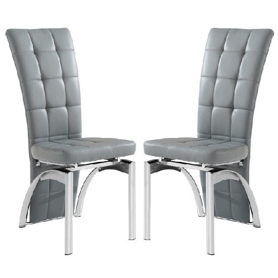 Ravenna Dining Chair In Grey Faux Leather in A Pair_1