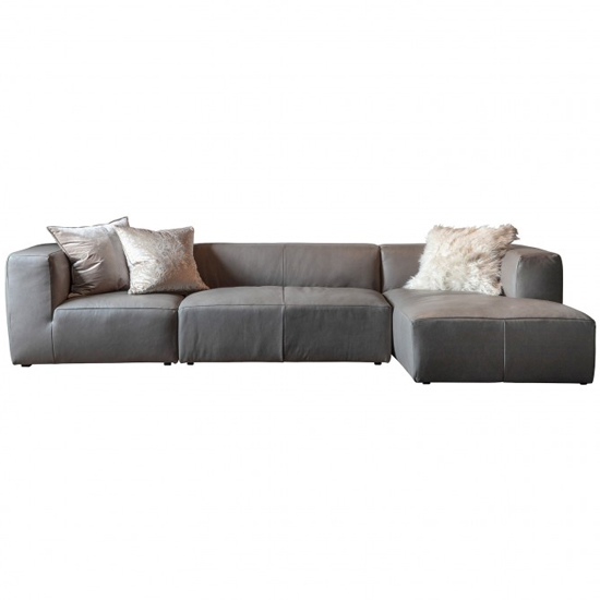 Ravesta Corner Faux Leather Sofa In Grey