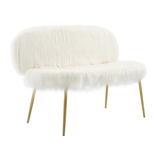 Rawson Faux Fur Sofa In White With Gold Finish Metal Legs