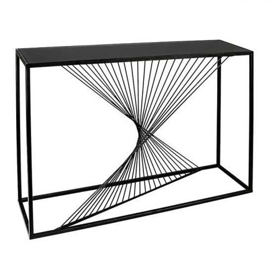 Ray Black Glass Top Console Table With Metal Frame_1