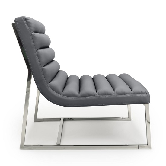 Raya Faux Leather Armchair In Grey With Stainless Steel Frame_3
