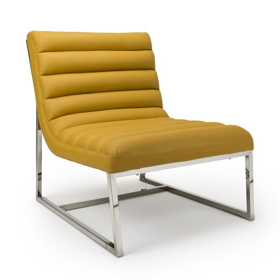 Raya Faux Leather Armchair In Yellow With Stainless Steel Frame