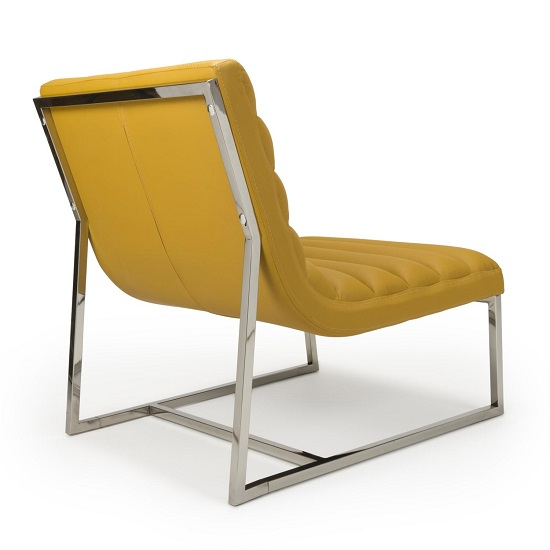Raya Faux Leather Armchair In Yellow With Stainless Steel Frame_2