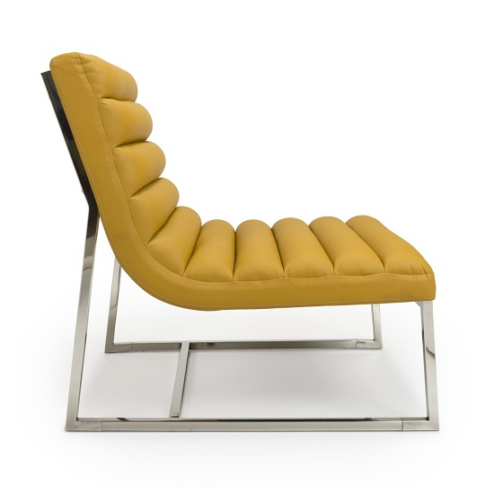 Raya Faux Leather Armchair In Yellow With Stainless Steel Frame_3