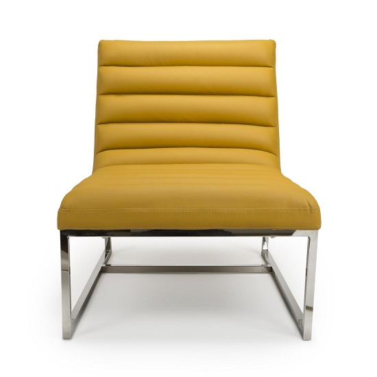Raya Faux Leather Armchair In Yellow With Stainless Steel Frame_4