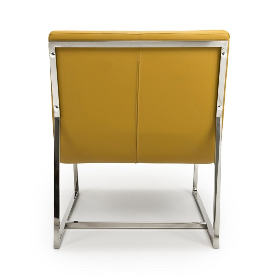 Raya Faux Leather Armchair In Yellow With Stainless Steel Frame_5