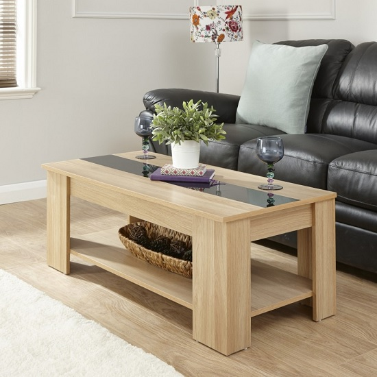 Raymond Coffee Table In Oak And Black Gloss With Lift Up Top_1