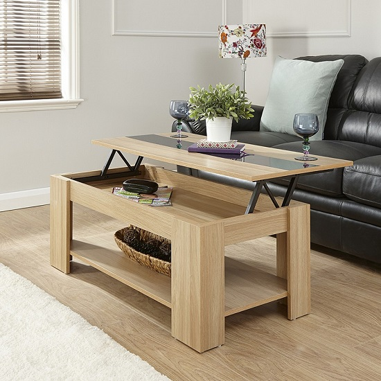 Raymond Coffee Table In Oak And Black Gloss With Lift Up Top_2