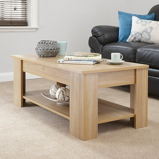 View Raymond coffee table rectangular in oak with lift up top