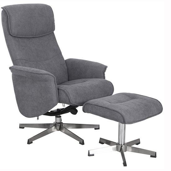 Rayna Recliner Chair With Footstool In Grey