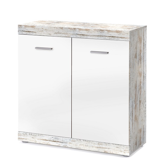 Rayton Compact Sideboard In White And Fresko With 2 Doors