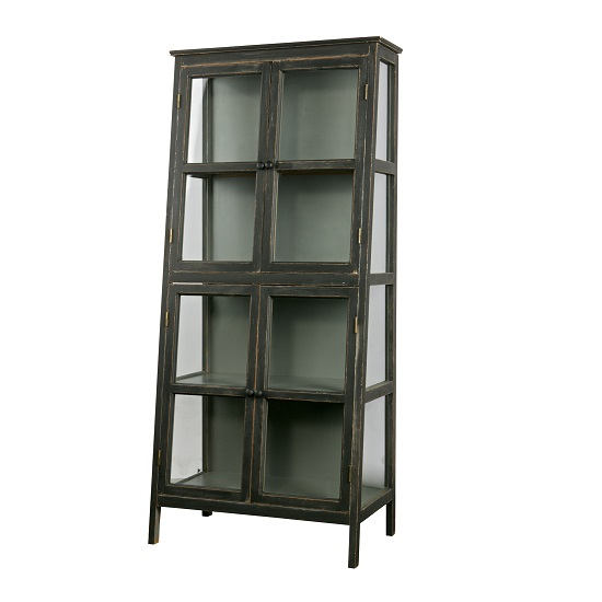 Rayton Wooden Slanted Display Cabinet In Black With 4 Doors