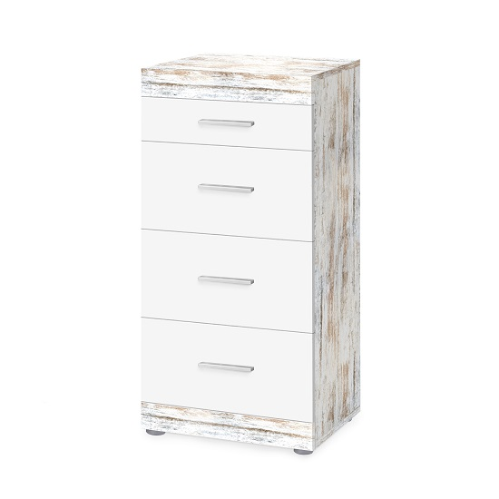 Rayton Wooden Chest Of Drawers In White And Fresko