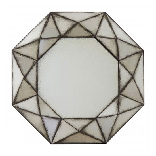 Raze Octagonal 3D Wall Bedroom Mirror In Antique Silver Frame