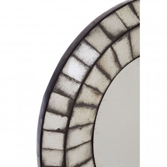 Raze Oval 3D Mosaic Wall Bedroom Mirror In Antique Silver Frame_2