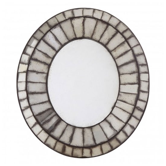 Raze Oval 3D Mosaic Wall Bedroom Mirror In Antique Silver Frame_1
