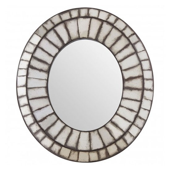 Raze Oval 3D Mosaic Effect Wall Mirror In Antique Silver Frame