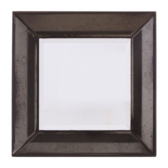 Raze Small Square Bevelled Wall Mirror In Antique Black Frame