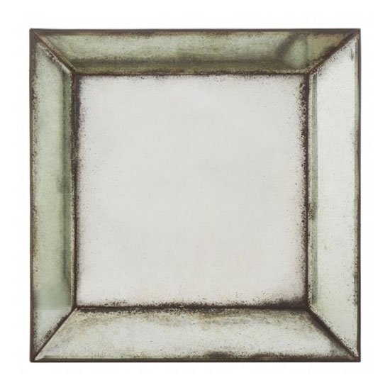 Raze Small Square Bevelled Wall Mirror In Antique Silver Frame