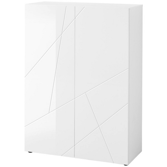 Reagan Shoe Cabinet In White With High Gloss Fronts And 2 Doors