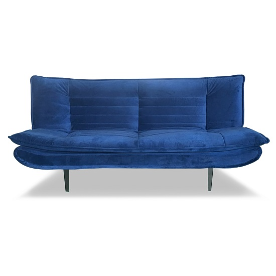 Reber Velvet Sofa Bed In Blue Finish With Black Metal Legs
