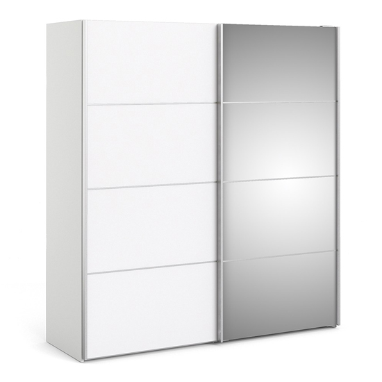 Reck Mirrored Sliding Doors Wardrobe In White With 2 Shelves