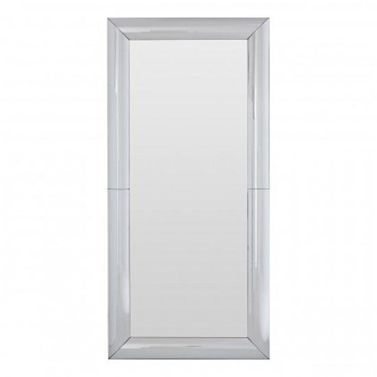 Recon Rectangular Wall Bedroom Mirror In Thick Silver Frame