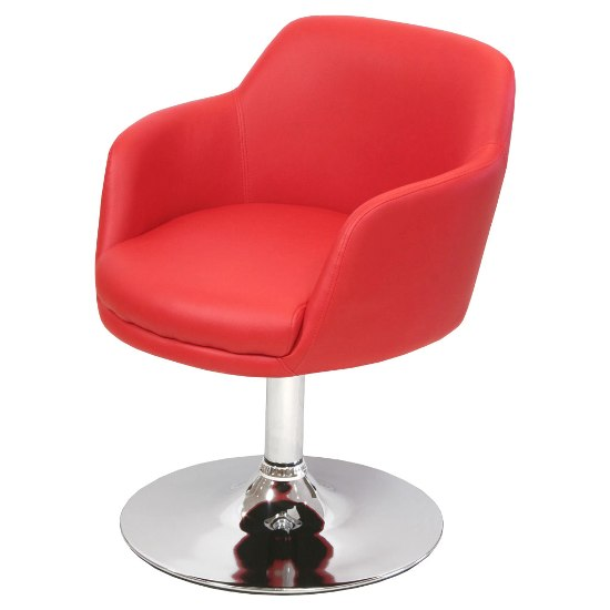 Bucketeer Bar Chair In Red Faux Leather With Chrome Base