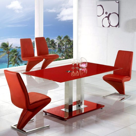 Jet Large Red Glass Dining Set And 6 Z Red Dining Chairs