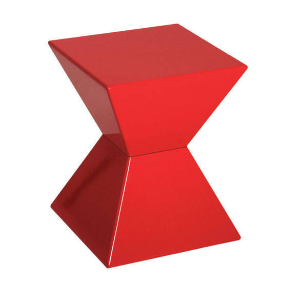 Edge Funky End Table In Red High Gloss Lacquered 9596