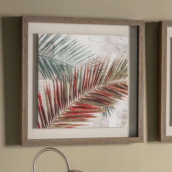 Red Palm Leaves I Framed Wall Art Furniture In Fashion