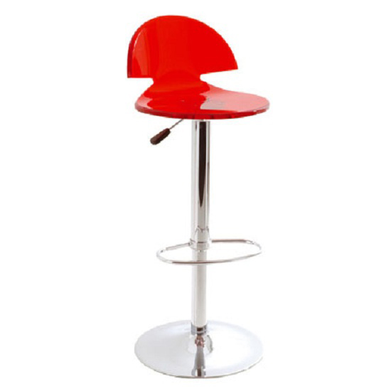 Julien Bar Stool In Acrylic Red With Chrome Base