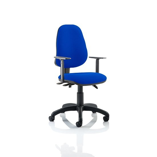 Redmon Fabric Office Chair In Blue With Height Adjustable Arms