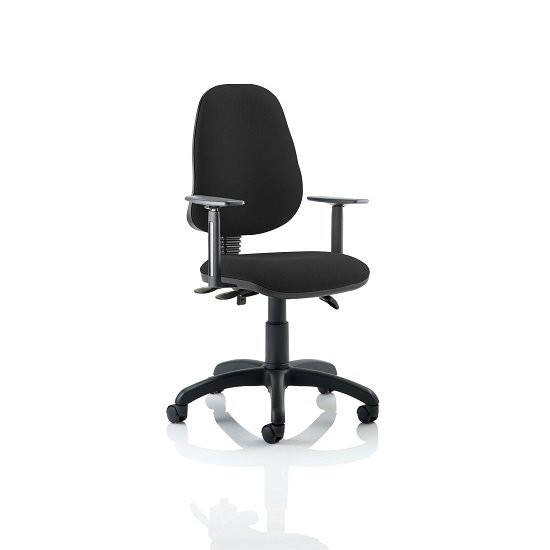 Redmon Fabric Office Chair In Black With Height Adjustable Arms