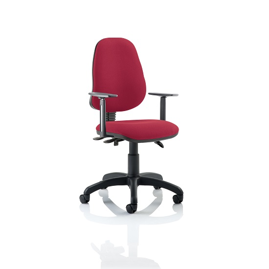 Redmon Fabric Office Chair In Wine With Height Adjustable Arms
