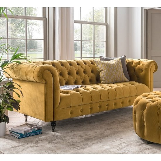 Reedy Chesterfield Three Seater Sofa In Mustard And Metal Castor