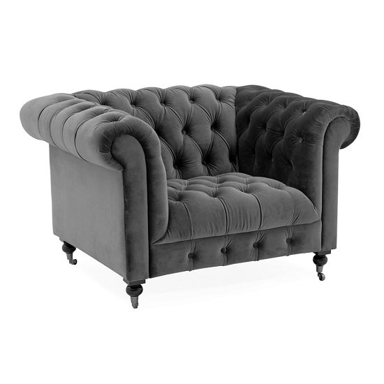 Reedy Chesterfield Velvel Sofa Chair In Grey With Metal Castor