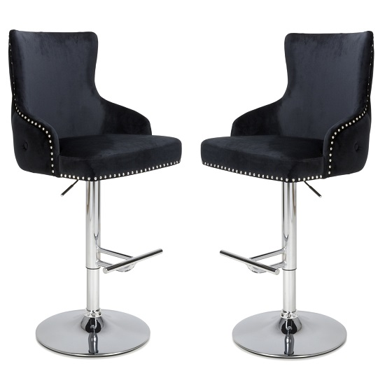 Reese Black Velvet Bar Stools With Chrome Base In A Pair