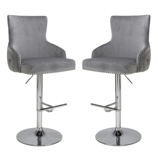 Reese Grey Velvet Bar Stools With Chrome Base In A Pair