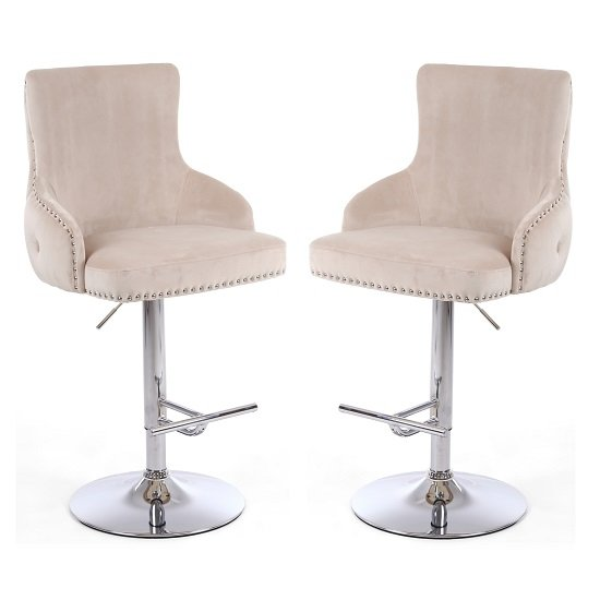 Reese Mink Velvet Bar Stools With Chrome Base In A Pair