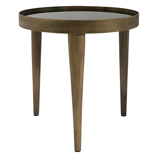 View Reese small smoked glass coffee table with antiqued brass legs