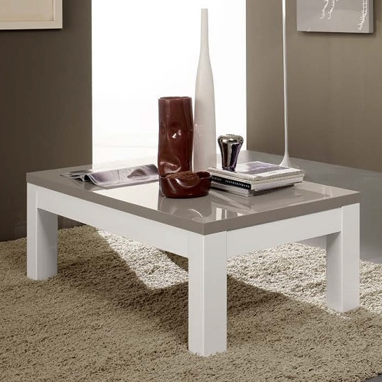Regal Coffee Table Rectangular In White And Grey With High Gloss
