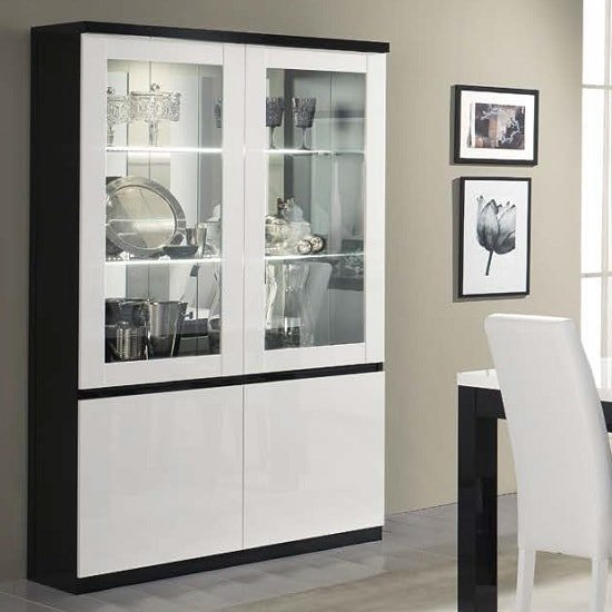 Regal Display Cabinet In Black And White With High Gloss LED