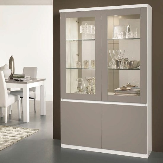 Regal Display Cabinet In White And Grey With High Gloss And LED