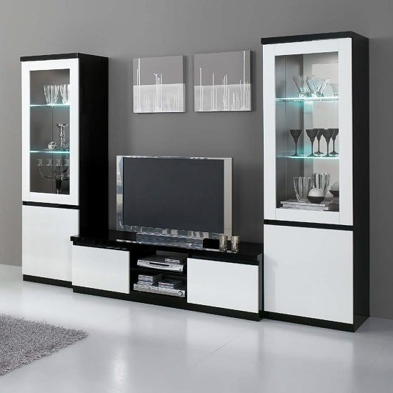 Regal Living Room Set In Black And White With High Gloss