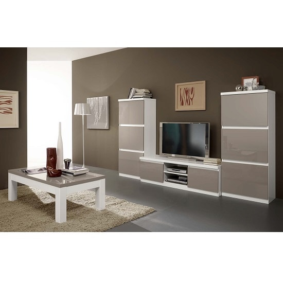 Regal living room set 1 in white grey with high gloss - White gloss living room furniture sets ...