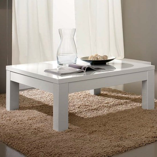 Regal Coffee Table Rectangular In White With High Gloss Lacquer
