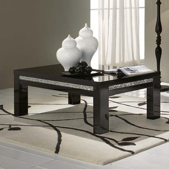 Regal Coffee Table In Black With Gloss Lacquer Crystal Details