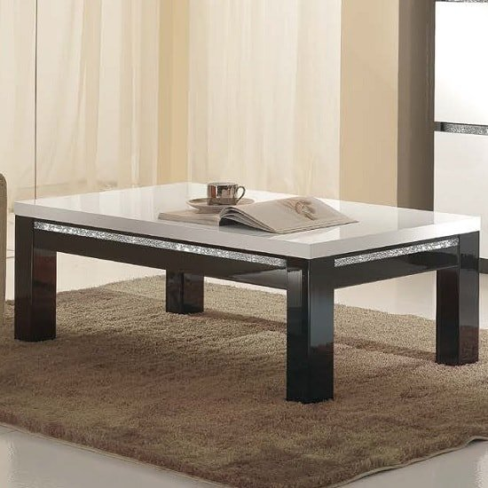 Regal Coffee Table In Black White Gloss Lacquer Crystal Details